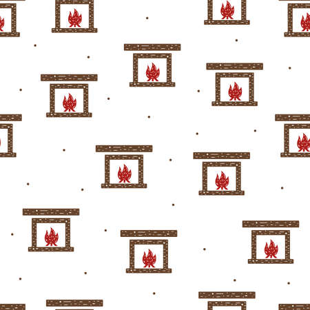 Seamless pattern of fireplace and fire in flat style on a white background.