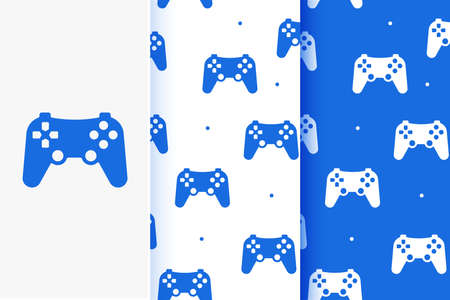 Set of seamless patterns of game joystick in flat style. Vettoriali