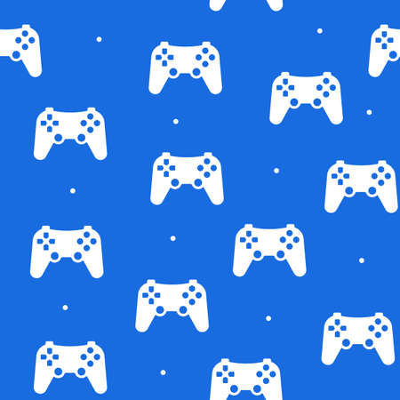 Seamless pattern of the game joystick in a flat style on a blue background. Vettoriali