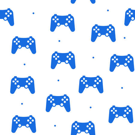 Seamless pattern of the game joystick in a flat style on a white background. Vettoriali