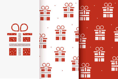 Set of seamless patterns of gift boxes in flat style. Collection of cards with traditional Christmas elements. Vettoriali