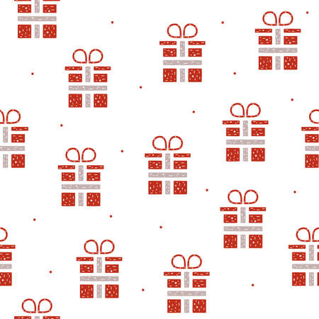 Seamless pattern of gift boxes in flat style on a white background.