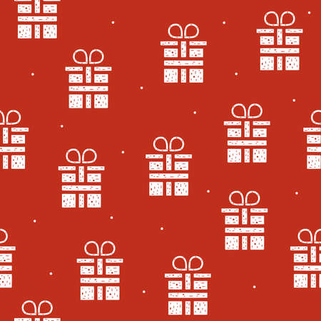 Seamless pattern of gift boxes in flat style on a red background. Vettoriali