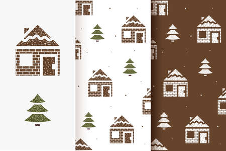Set of seamless patterns of houses and fir trees in flat style. Collection of cards with traditional Christmas elements. Vettoriali