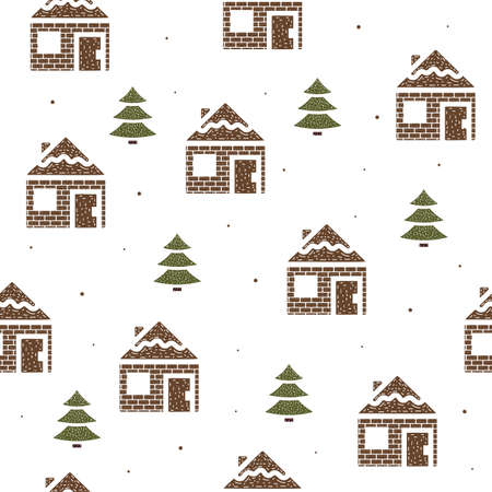 Seamless pattern of houses and fir trees in flat style on a white background.