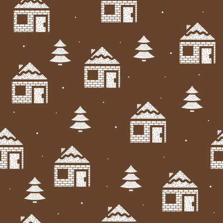 Seamless pattern of houses and fir trees in flat style on a brown background