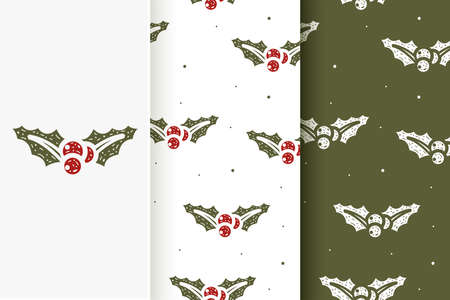 Set of seamless patterns of mistletoe Christmas in flat style. Collection of cards with traditional Christmas elements.