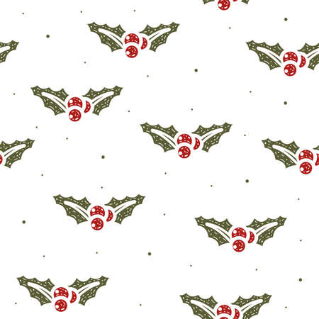 Seamless pattern of mistletoe Christmas in flat style on a white background.