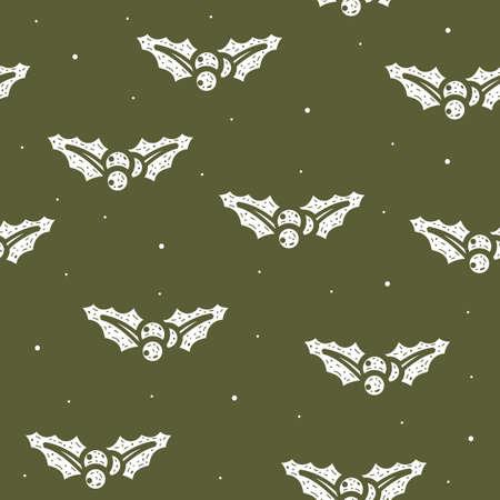 Seamless pattern of mistletoe Christmas in flat style on a green background. Vettoriali