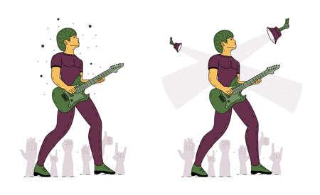 Rock star playing guitar. Musician vintage vector illustration