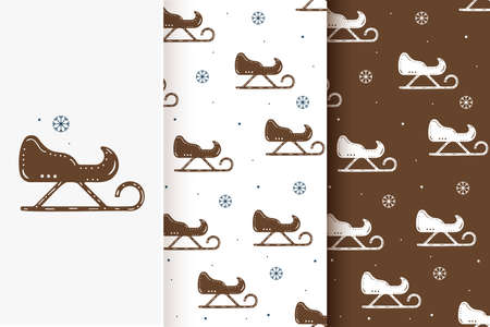 Set of seamless patterns of sledges and snowflakes in flat style. Collection of cards with traditional Christmas elements.