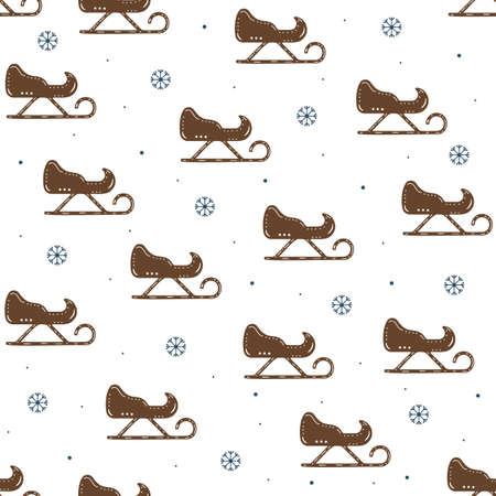 Seamless pattern of sledges and snowflakes in flat style on a white background. Vettoriali