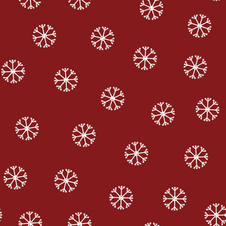 Seamless pattern of snowflakes in flat style on a red background.