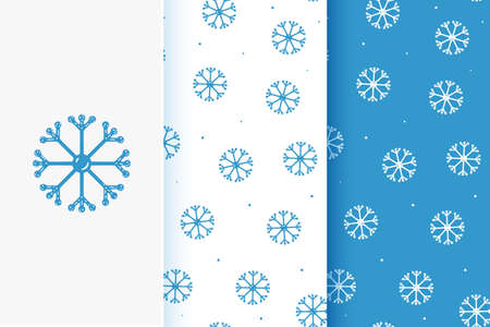 Set of seamless patterns of snowflakes in flat style. Collection of cards with traditional Christmas elements.