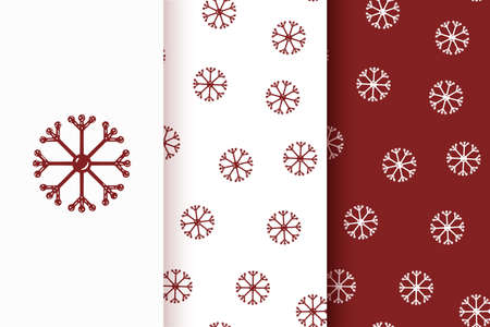 Set of seamless patterns of red snowflakes in flat style. Collection of cards with traditional Christmas elements.