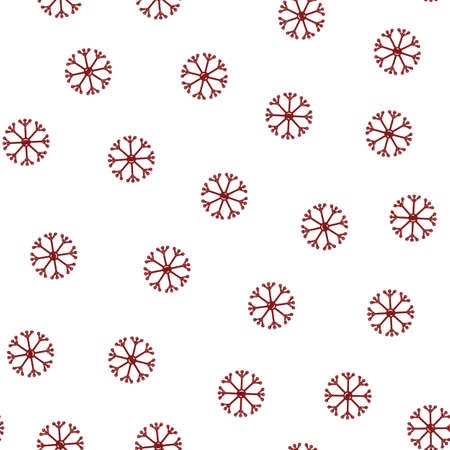 Seamless pattern of snowflakes in flat style on a white background. Vettoriali