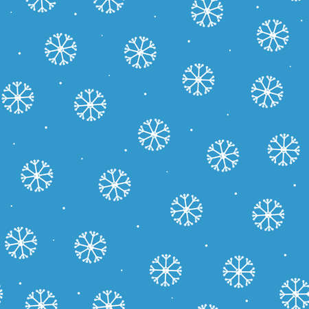 Seamless pattern of snowflakes in flat style on a blue background.