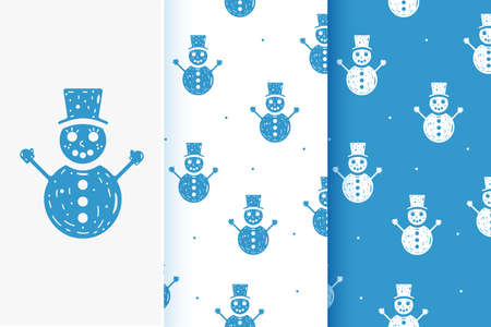 Set of seamless patterns of snowmen in flat style. Collection of cards with traditional Christmas elements. Vettoriali