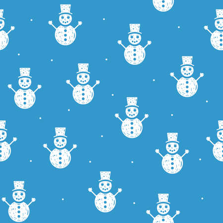 Seamless pattern of snowmen in flat style on a blue background.