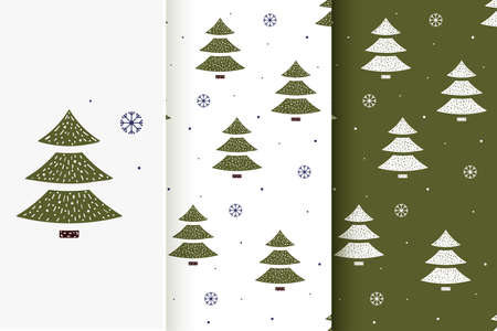 Set of seamless patterns of Christmas trees and snowflakes in flat style. Collection of cards with traditional Christmas elements.