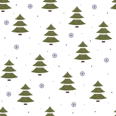 Seamless pattern of Christmas trees and snowflakes in flat style on a white background.