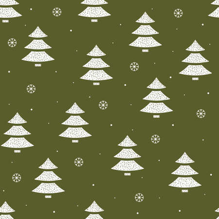 Seamless pattern of Christmas trees and snowflakes in flat style on a green background. Vettoriali