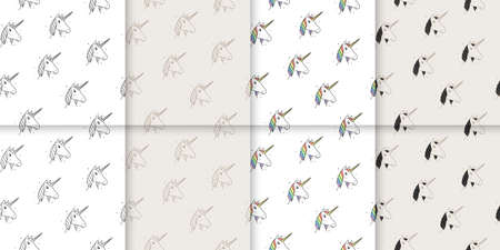 Large set of seamless patterns of unicorns in Victorian and modern style. Vettoriali