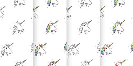 Set of seamless patterns of unicorns in cartoon style on a white background.