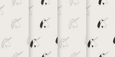 Set of seamless patterns of unicorns in the Victorian style. Vettoriali