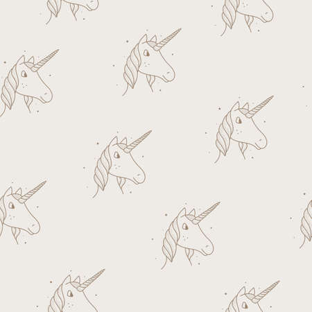 Seamless pattern of unicorns in vintage style on a tan background. Vettoriali