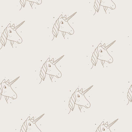 Seamless pattern of unicorns in modern style on a tan background.
