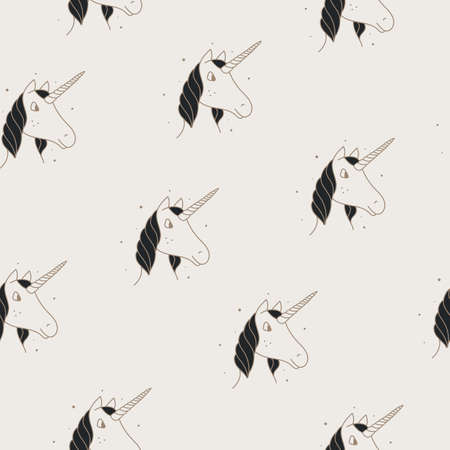 Seamless pattern of unicorns in Victorian or vintage style on a tan background. Vettoriali