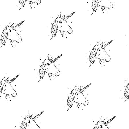 Seamless pattern of unicorns in a vintage style on a white background.