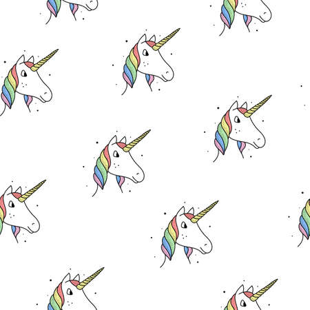 Seamless pattern of rainbow unicorns in a vintage style on a white background.