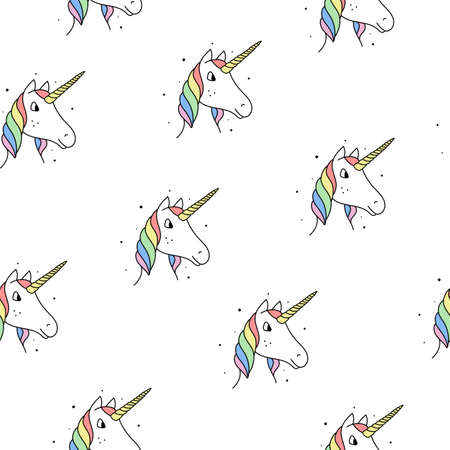 Seamless pattern of rainbow unicorns in a modern style on a white background.