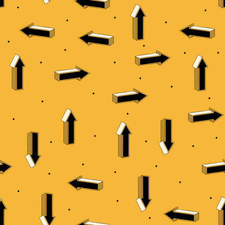 Seamless pattern of arrows retro design on a yellow background.