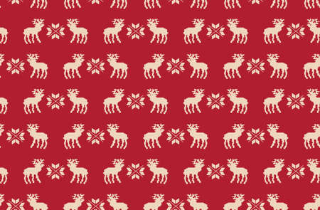 Seamless pattern of Christmas reindeer pixel art on a red background.