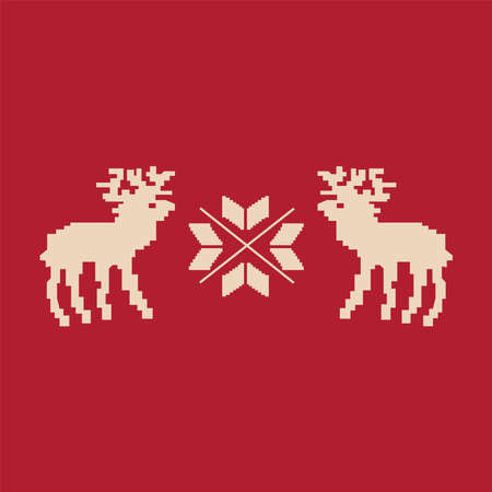 Christmas reindeer pixel art isolated on red background