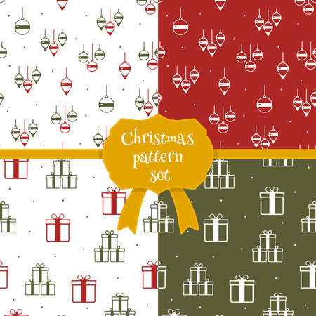 Set of christmas seamless patterns in cartoon style. Vector Christmas icons and templates. Doodle style Christmas cards. Christmas toys and gift boxes. Vettoriali