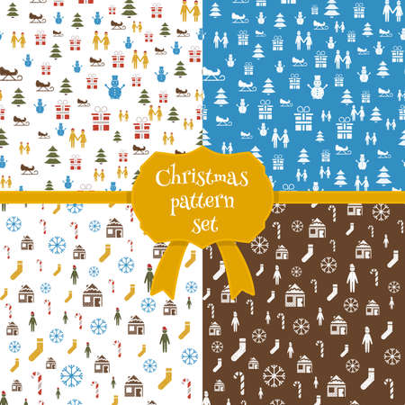 Set of christmas seamless patterns in cartoon style. Vector Christmas icons and templates. Doodle style Christmas cards.