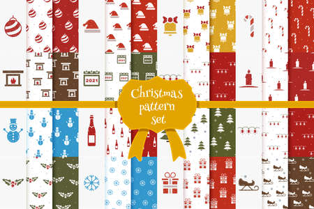 Large set of christmas seamless patterns in cartoon style. Vector Christmas icons and templates. Christmas cards in Doodle style.