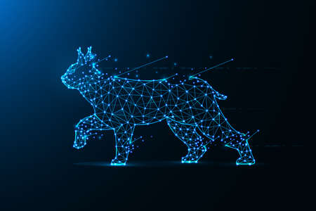 Lynx in polygonal style. Wild cat made from lines and dots. Abstract art
