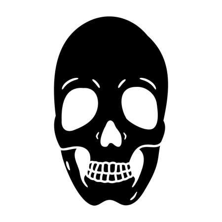 Human skull flat icon isolated on white background. Vettoriali