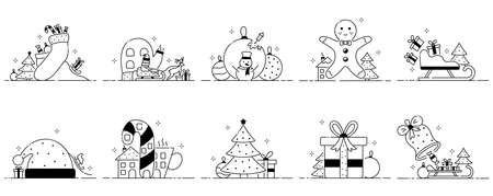 Merry christmas set of funny illustrations, christmas sketches in cartoon style. Characters and Christmas ornament. Collection of new year flat icons.