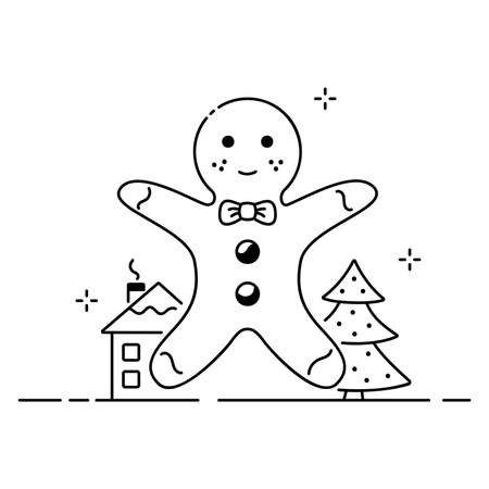 Merry christmas funny illustration, christmas composition in cartoon style. Gingerbread, house and christmas tree flat icon