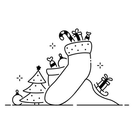 Merry Christmas funny illustration, Christmas composition in cartoon style. Big sock, fir tree and Christmas ornament flat icon. Vettoriali