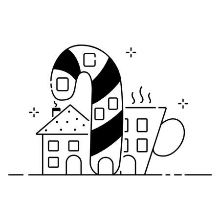 Merry Christmas funny illustration, Christmas composition in cartoon style. Lollipop and cup shaped house flat icon.