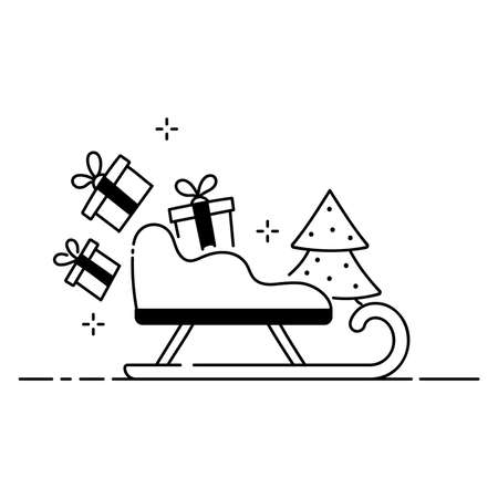 Merry Christmas funny illustration, Christmas composition in cartoon style. Sled, gifts and Christmas tree flat icon