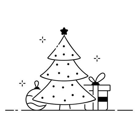 Merry christmas funny illustration, christmas composition in cartoon style. Christmas tree, gift and toy flat icon Vettoriali