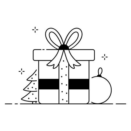 Merry Christmas funny illustration, Christmas composition in cartoon style, gift box, Christmas tree and toy flat icon Vettoriali